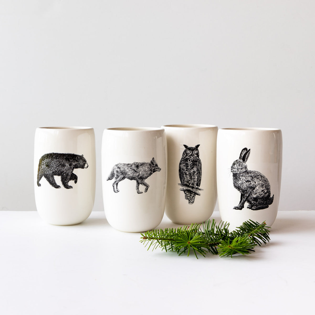 Canada's Wildlife Collection - Handmade Porcelain Beer Tumblers / Glassses