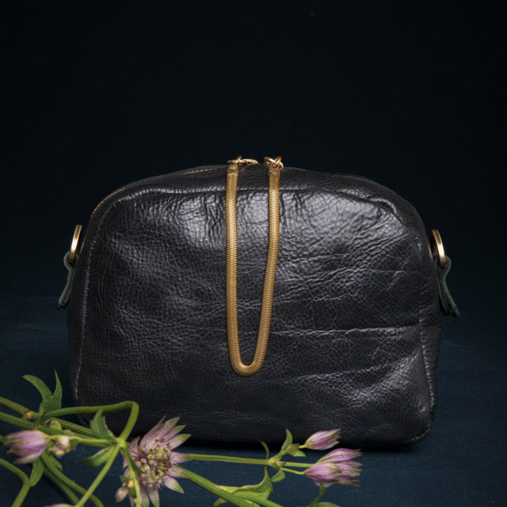 Cartier - Oiled Black Crossbody Bag - Handmade in Cowhide & Nubuck Leather - Sold by Chic & Basta
