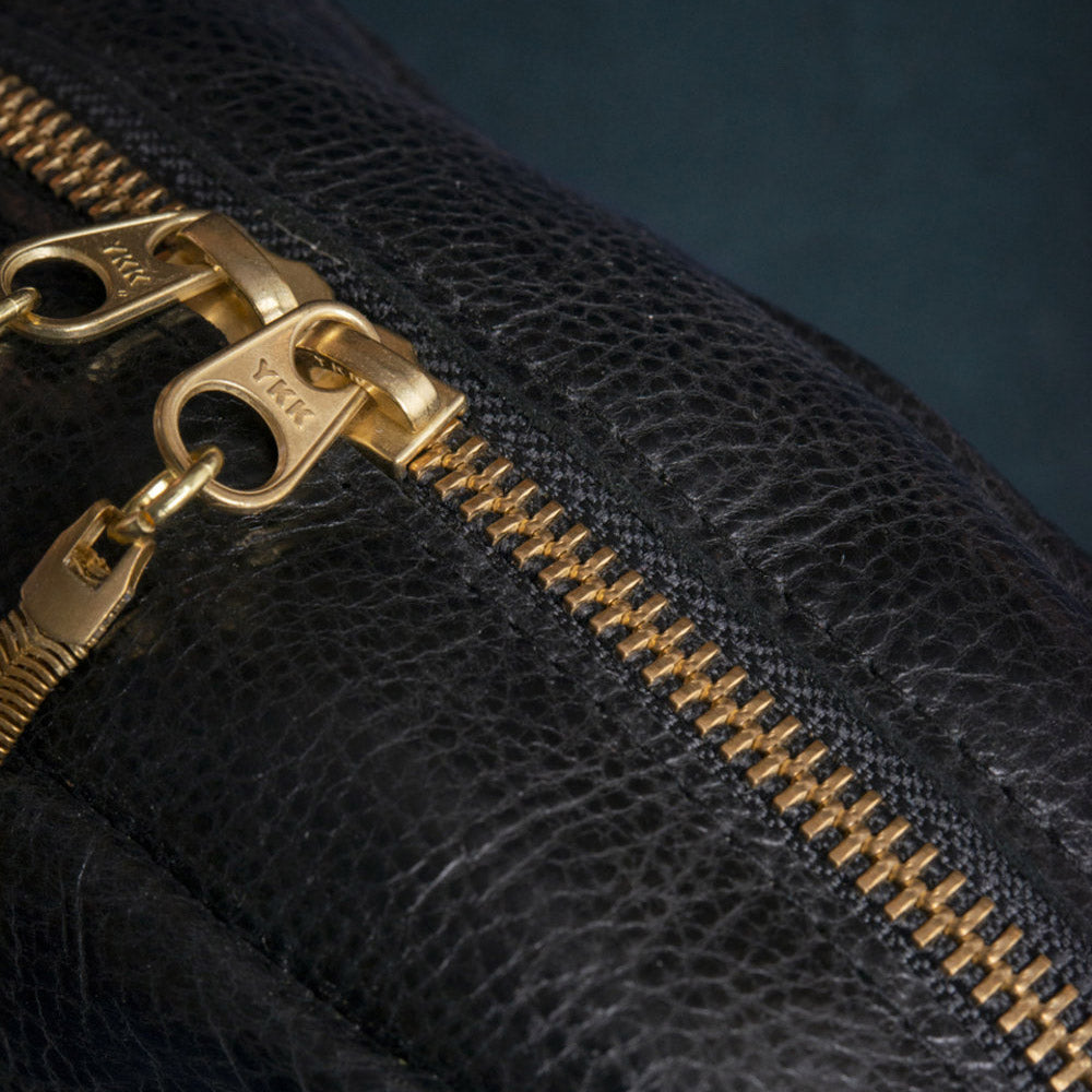 Brass Zipper Detail - Cartier - Deep Blue Crossbody Bag - Handmade in Cowhiide & Nubuck Leather - Sold by Chic & Basta