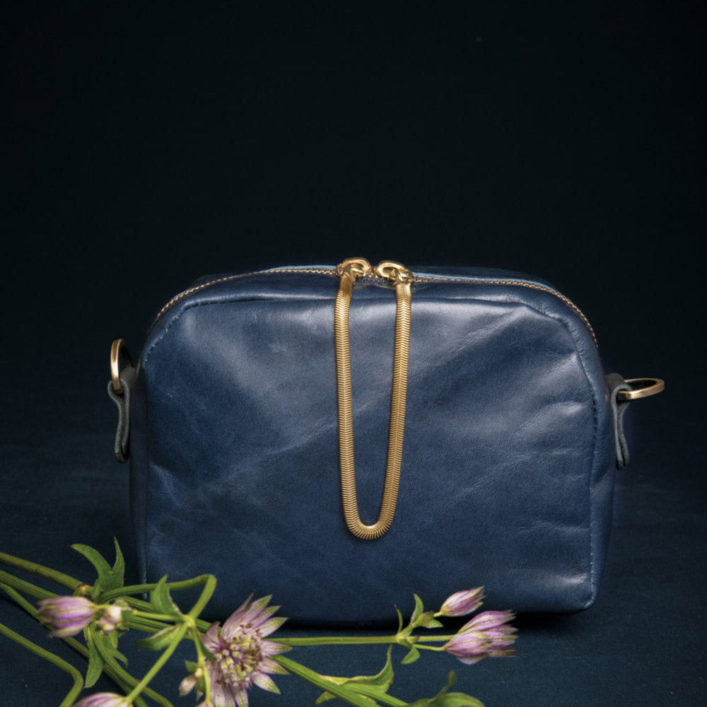 Cartier - Deep Blue Crossbody Bag - Handmade in Cowhide & Nubuck Leather - Sold by Chic & Basta