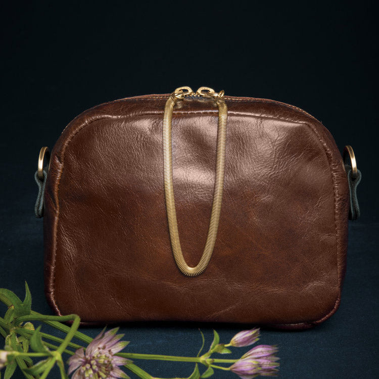 Cartier - Cognac Brown Crossbody Bag - Handmade in Cowhide & Nubuck Leather - Sold by Chic & Basta