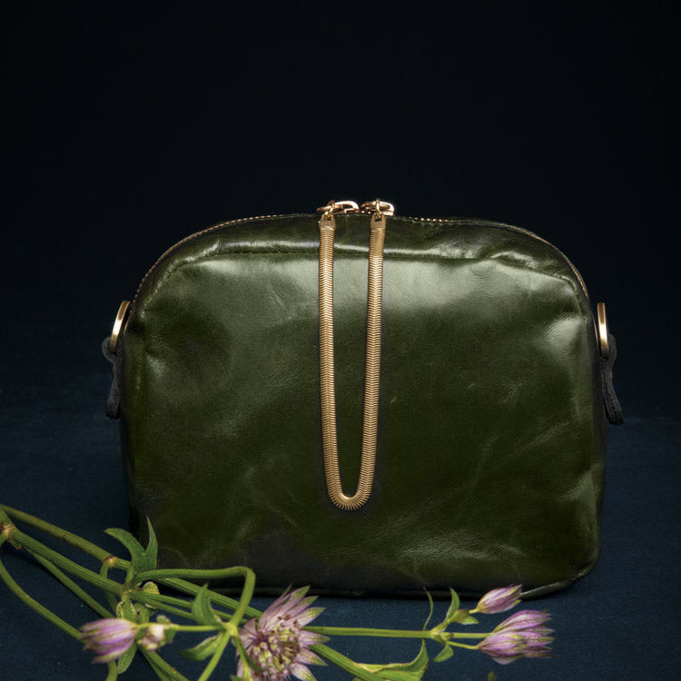 Cartier - Forest Green Crossbody Bag - Handmade in Cowhide & Nubuck Leather - Sold by Chic & Basta