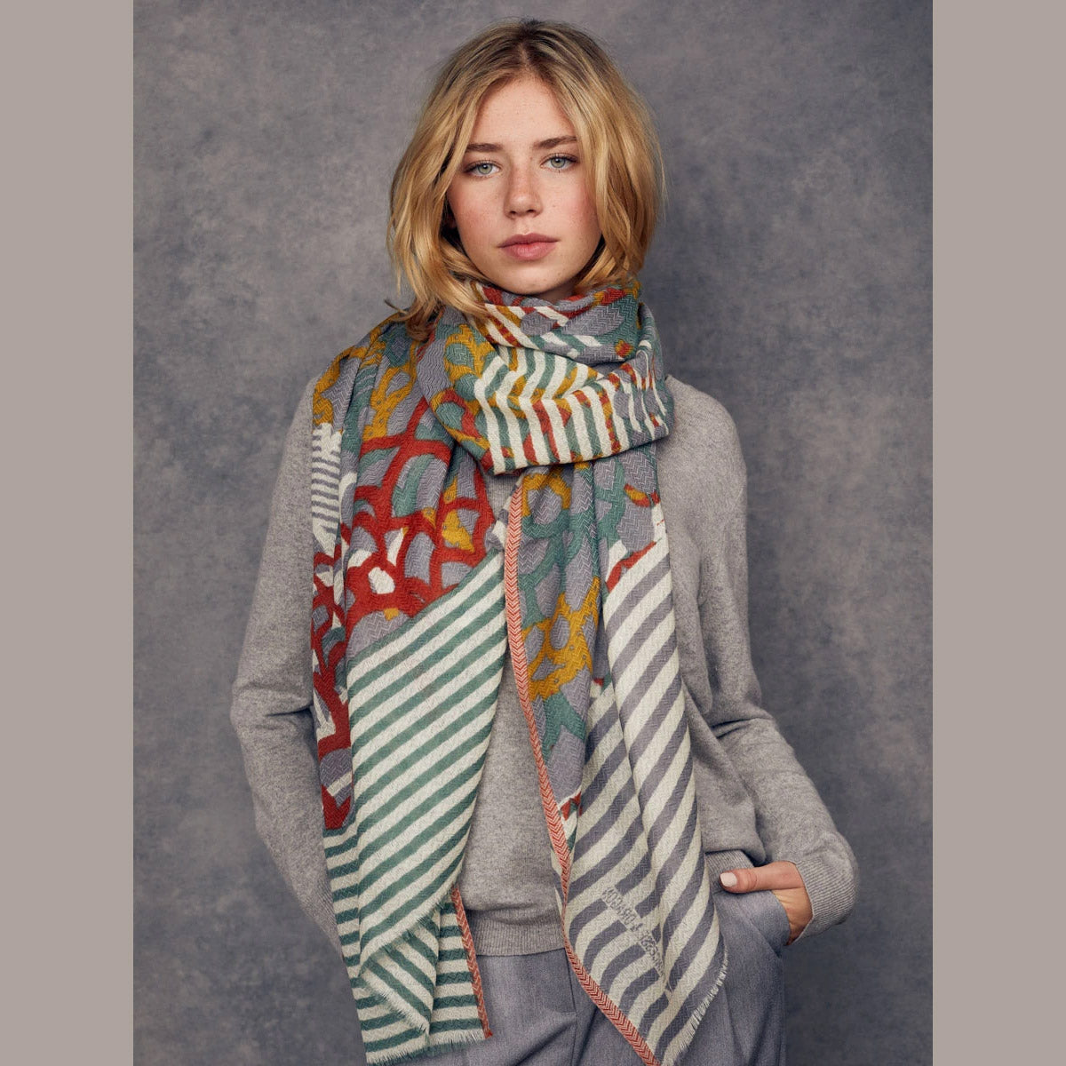 Céleste - 100% Fine Merino Wool Scarf - Olive Green & Saffron Yellow - Sold by Chic & Basta