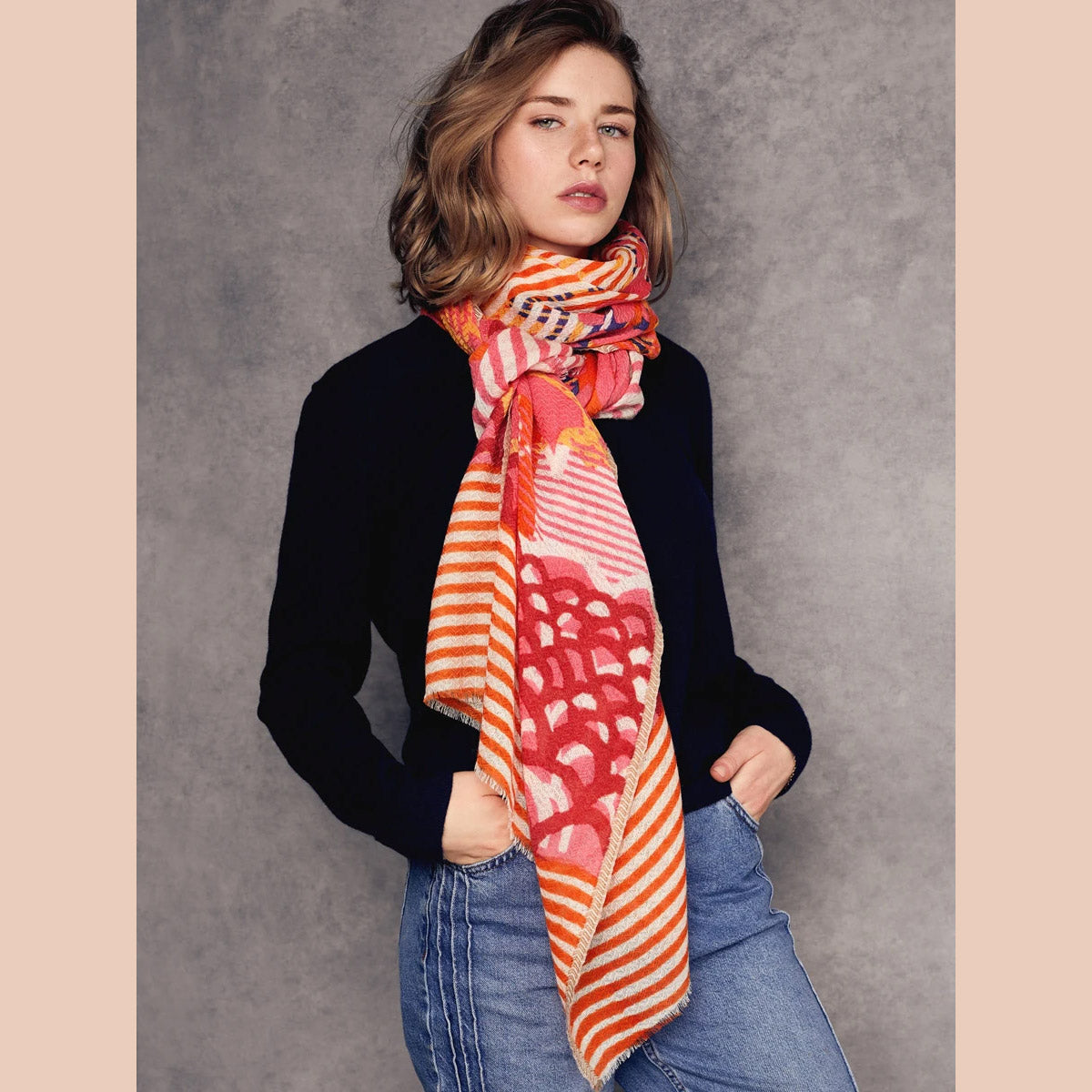 Céleste - Merino Wool Scarf - Orange & Pink