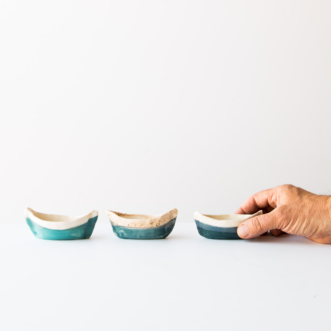 Small Hand Shaped White & Blue Ceramics Boats By Aunt Magda- Sold By Chic & Basta