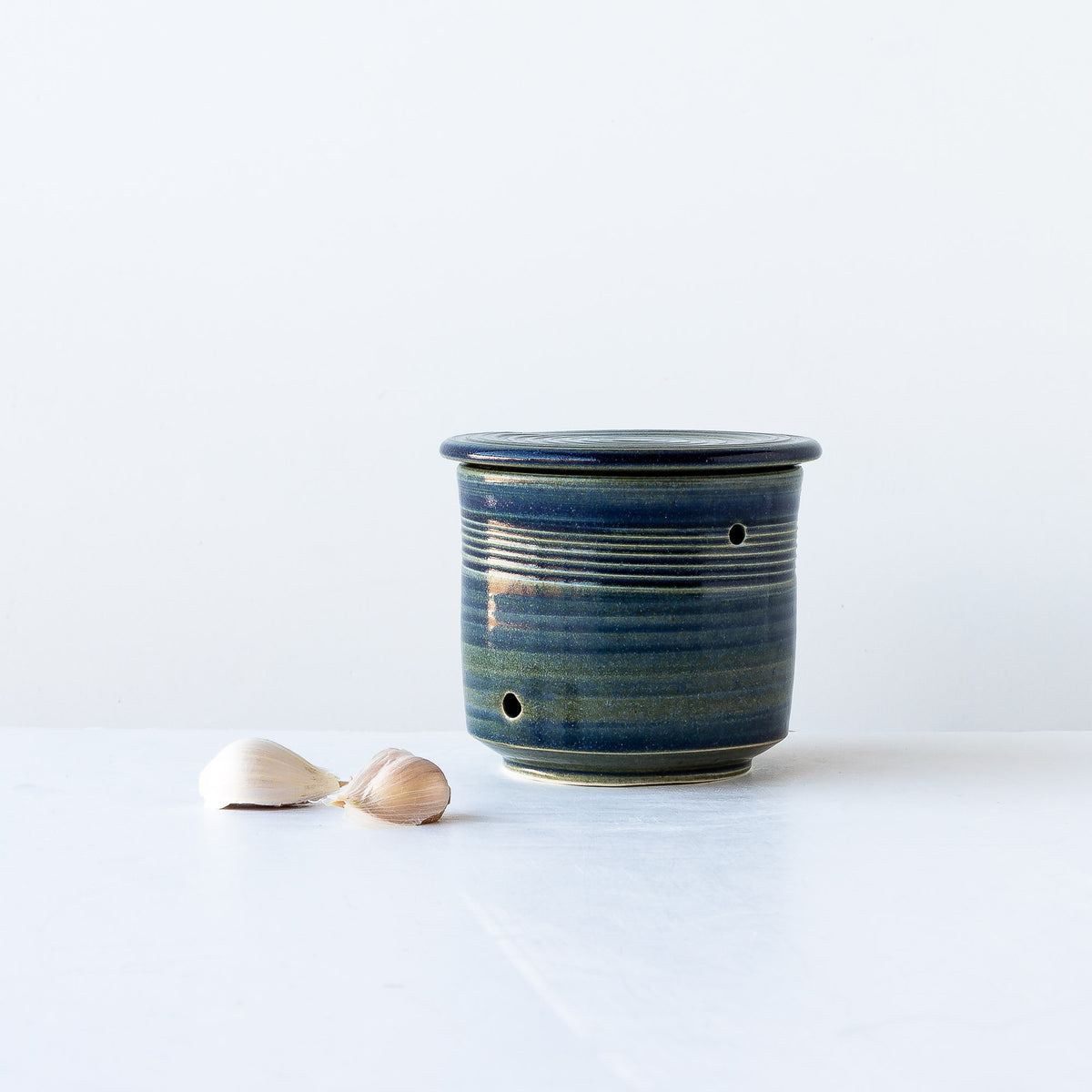 Ceramic Garlic Keeper Handmade in Porcelain - Blue Patterns - Sold by Chic & Basta
