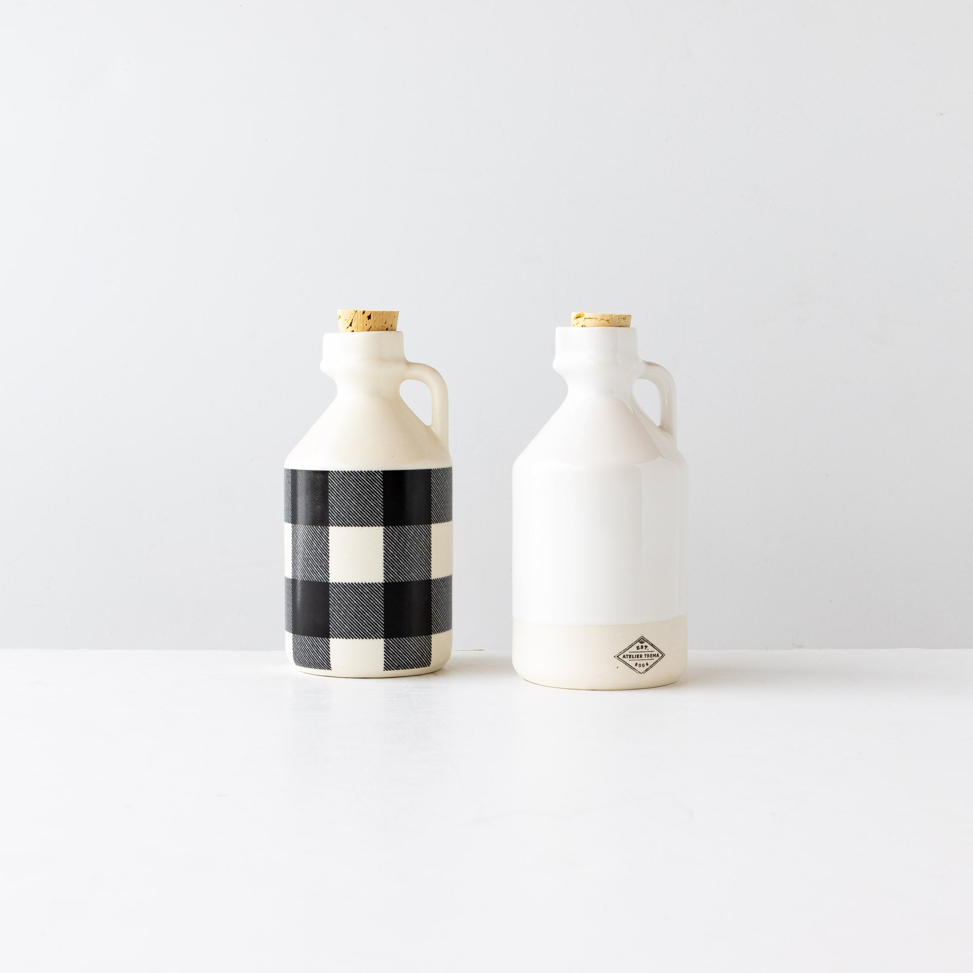 Two Handmade Porcelain Maple Syrup Bottles / Jugs - Sold by Chic & Basta