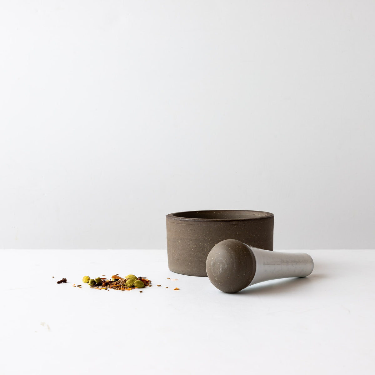 Handmade Contemporary Ceramic Mortar & Pestle Set - Shown With Spices - Sold by Chic & Basta