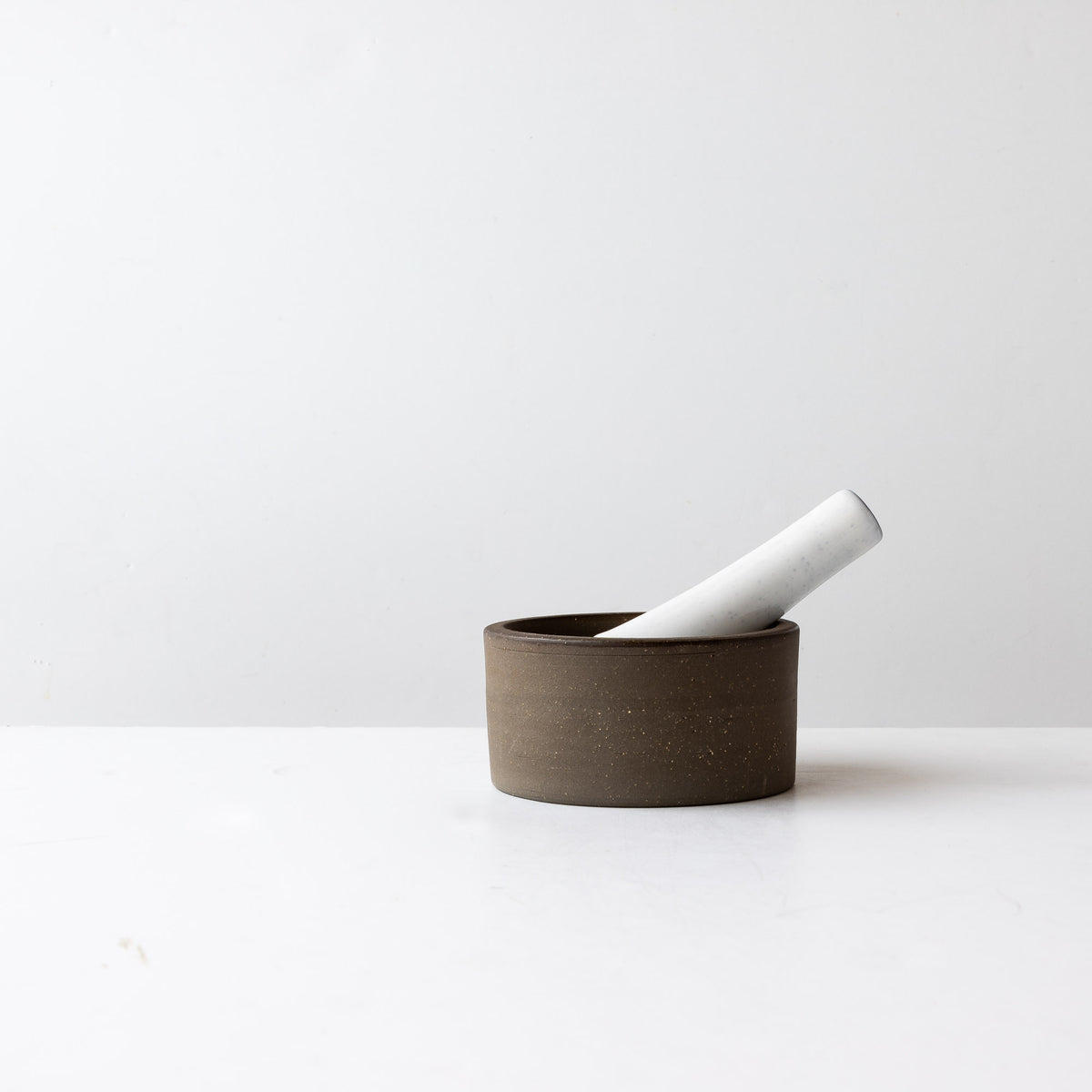 Grey Clay - Creamy White Glaze - Handmade Contemporary Ceramic Mortar & Pestle Set - Sold by Chic & Basta