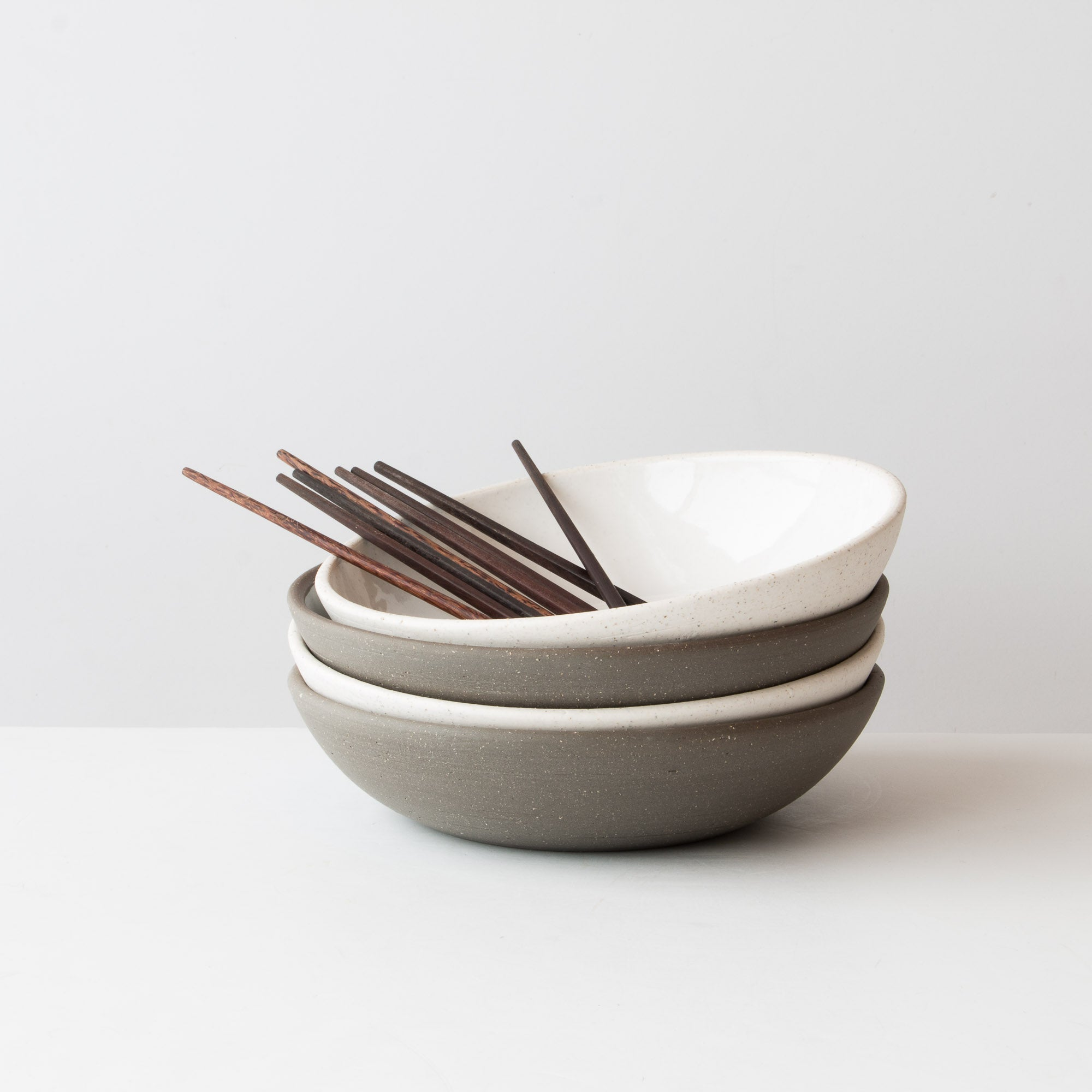 Set of 4 Very Large Handmade Ceramic Poke Bowls - Sold by Chic & Basta