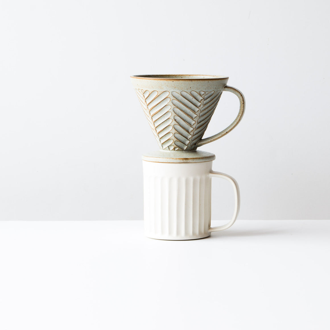 Herringbone Pattern - Handmade Ceramic Pour-Over Coffee Cone - Sold Online by Chic & Basta