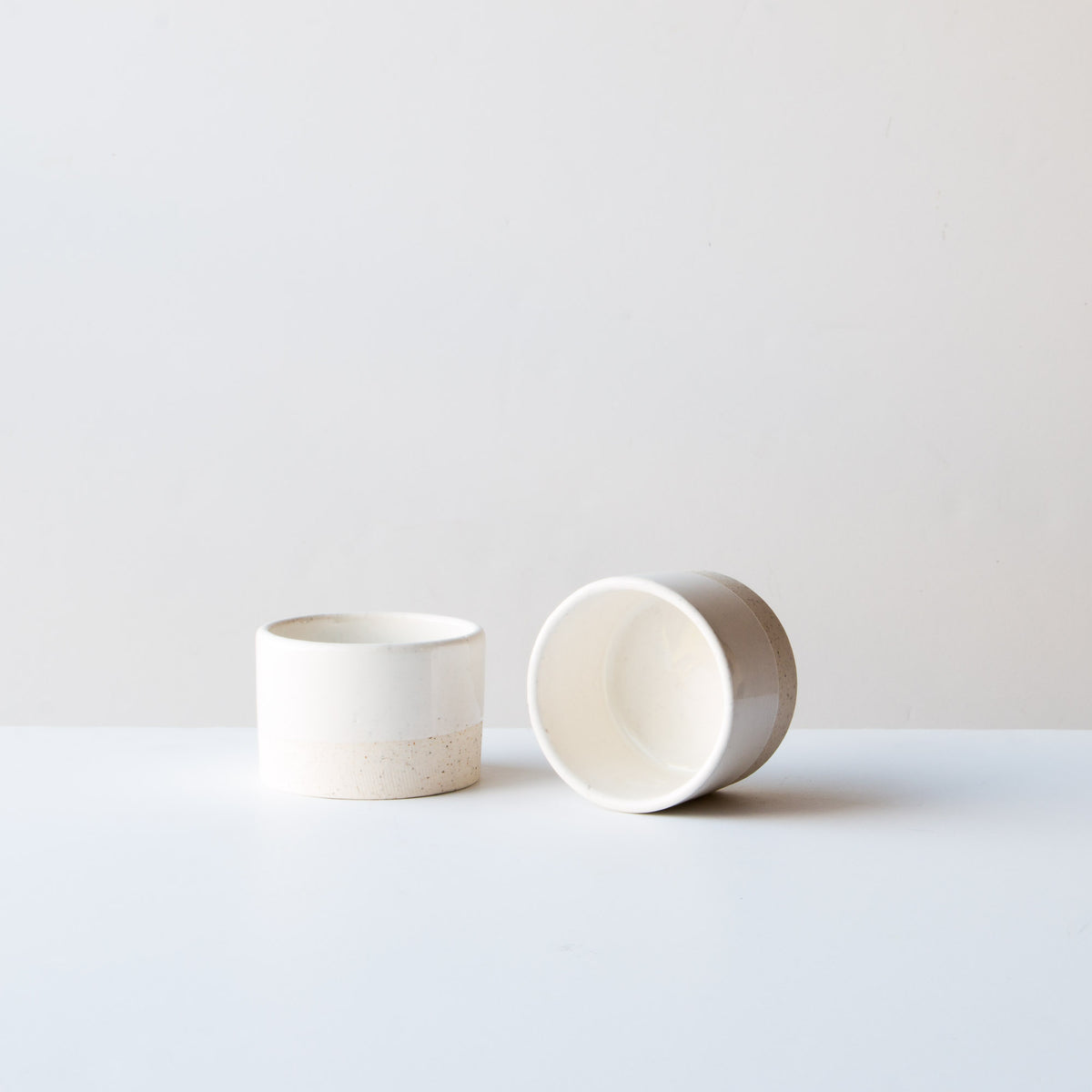 Two Oatmeal Clay - Soft White Glaze - 6 oz / 200 ml Handmade Ceramic Ramekin - Made in Canada - Shop Online