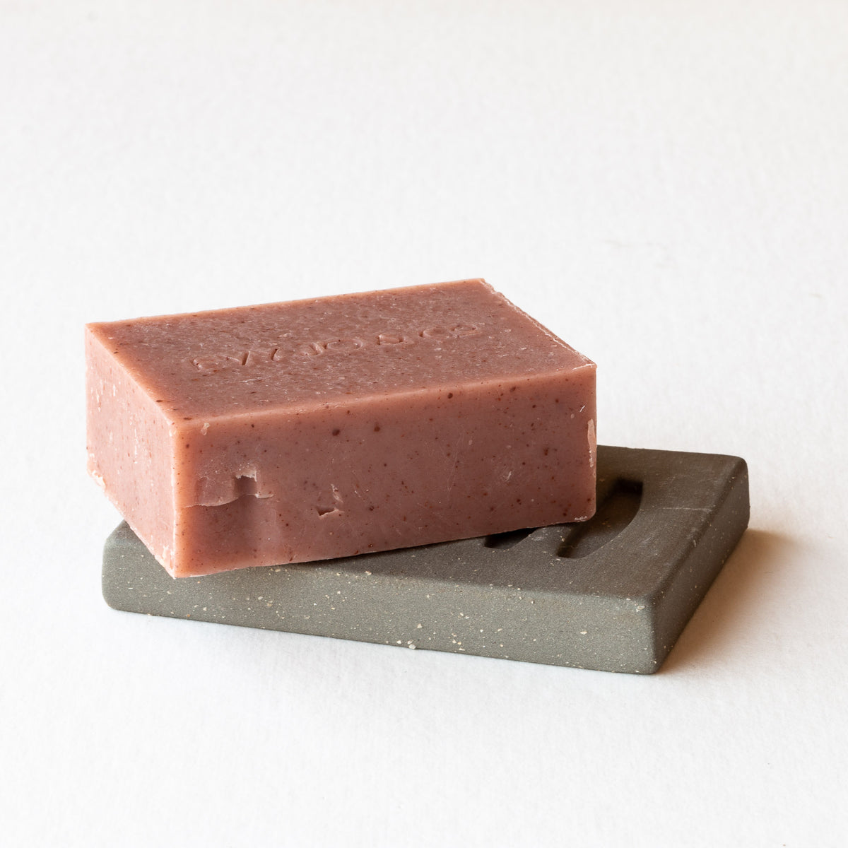 Shown With Soap - Grey Clay Ceramic Soap Dish / Handmade Soap Holder - Sold by Chic & Basta