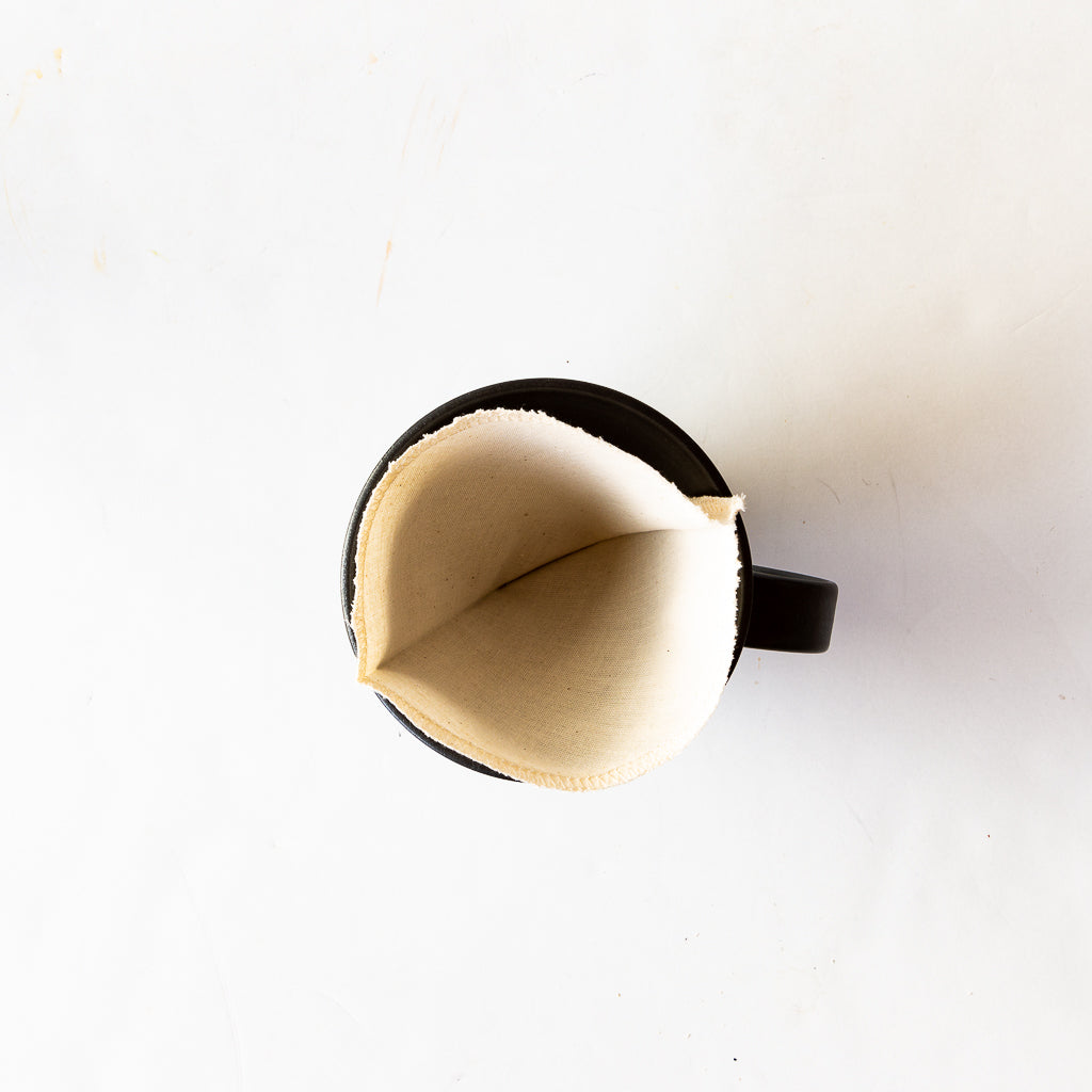Top View - Handmade Ceramic Pour-Over Coffee Dripper With Reusable Cotton Coffee Filter - Sold by Chic & Basta