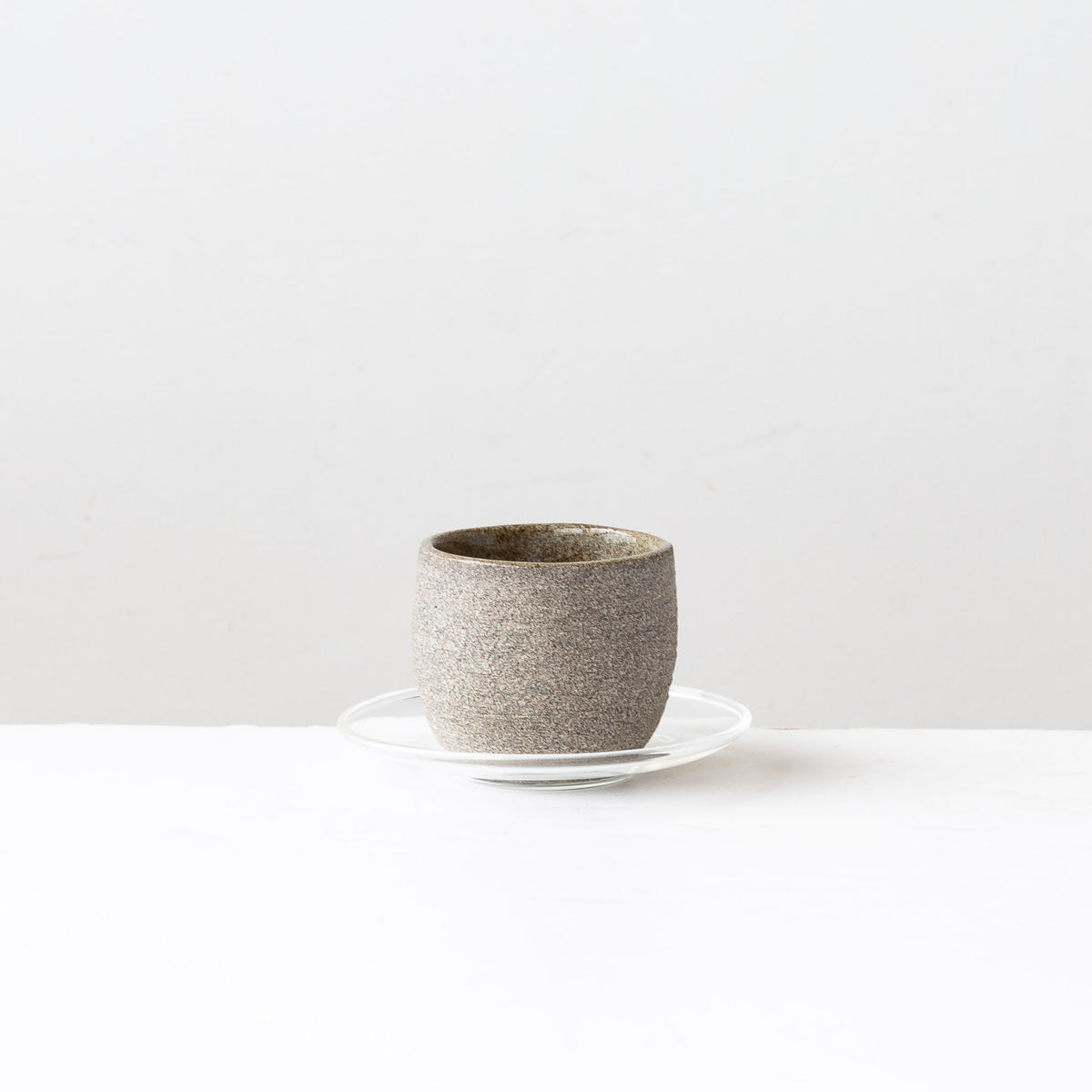 Handmade Stoneware Espresso Coffee Cup & Glass Saucer - Sold by Chic & Basta