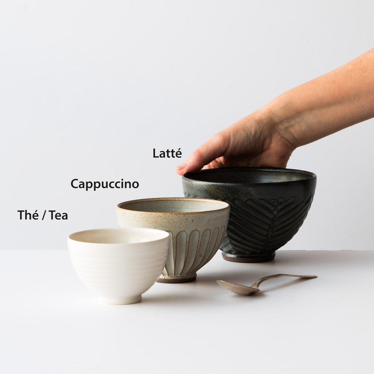 Dimensions of ceramic drinking bowls. Christian Roy. Chic & Basta.