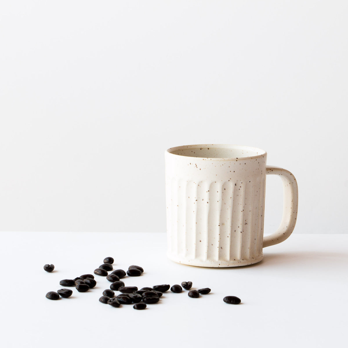 Speckled Off-White - Hand Thrown Ceramic Coffee Mug - Handmade in Quebec