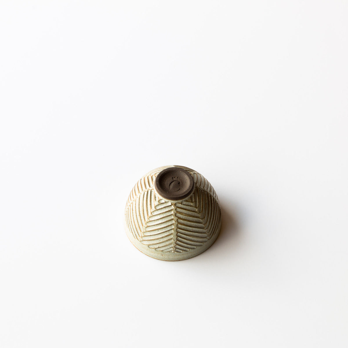 Bottom View - Greige Colour - Hand Thrown Ceramic - Herringbone Pattern Tea Bowl - Made in Canada