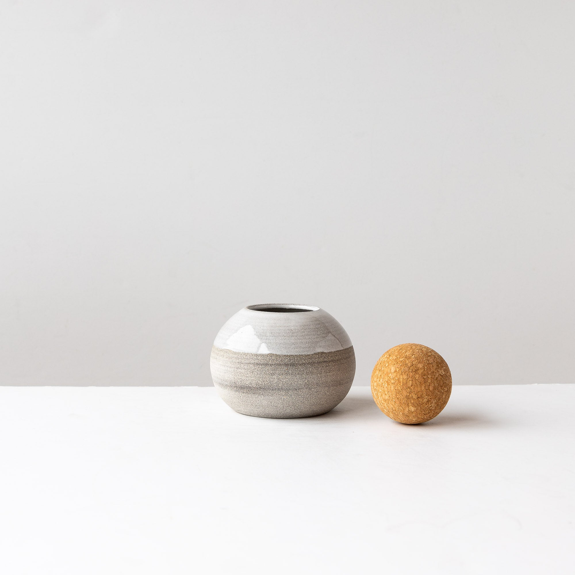 Small stoneware jar with round cork lid, handmade. - Sold by Chic & Basta