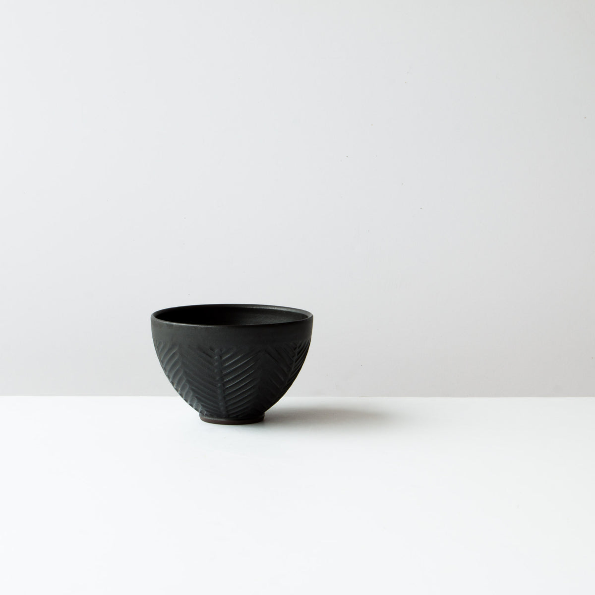 Black Colour - Side View - Handmade Ceramic Latté Bowl / Coffee Cup - Hand Thrown in Canada - Chic & Basta
