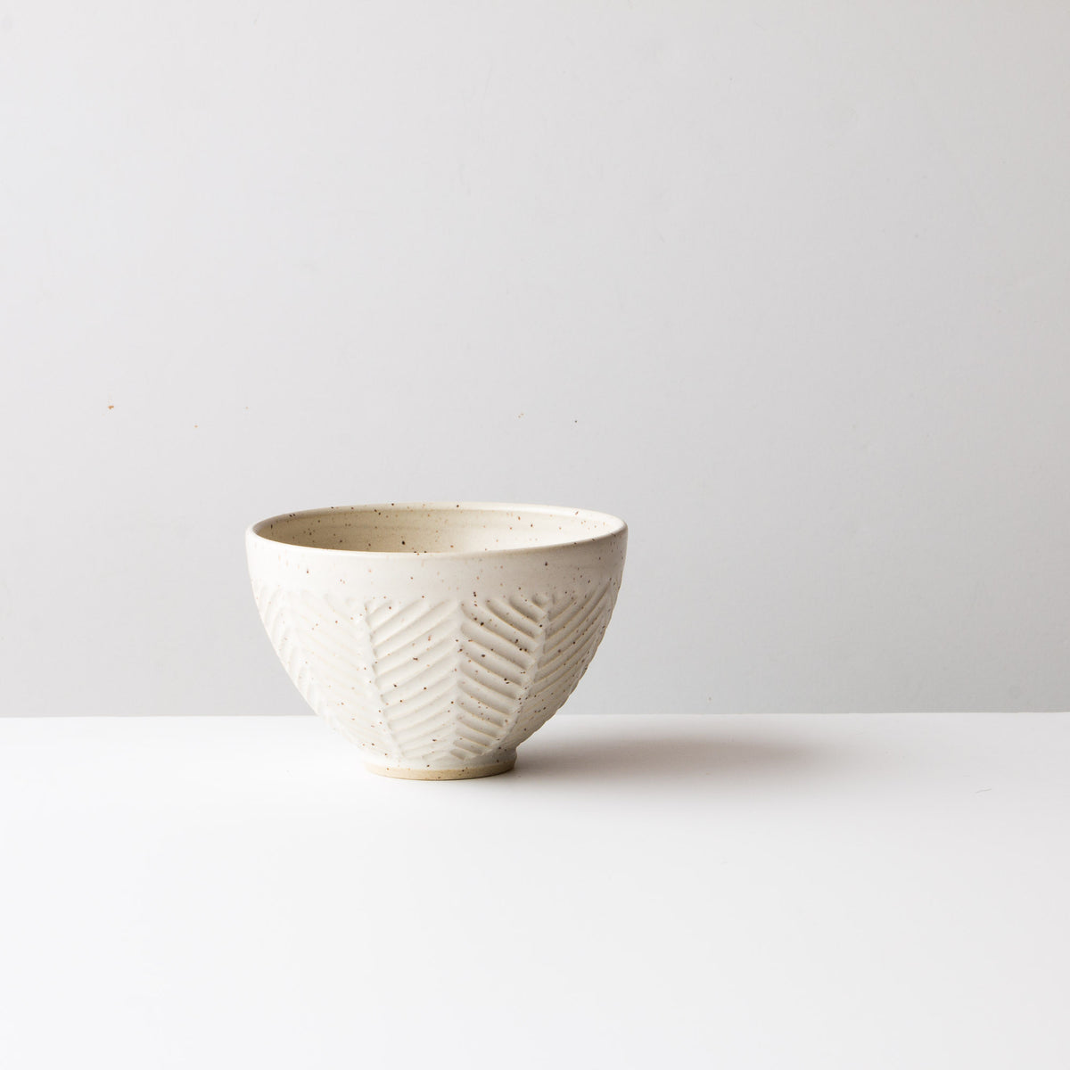 Speckled Off-White - Side View - Handmade Ceramic Latté Bowl / Coffee Cup - Hand Thrown in Canada - Chic & Basta