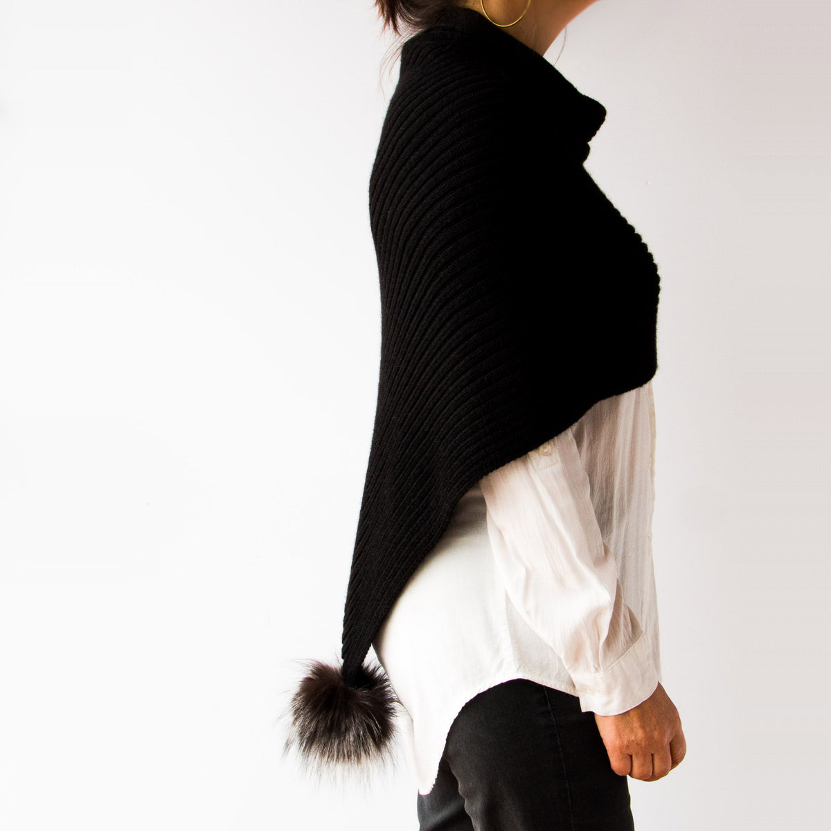 Woman Wearing a Black Handmade 100% Baby Alpaca Wool Shawl / Poncho Style - Sold by Chic & Basta