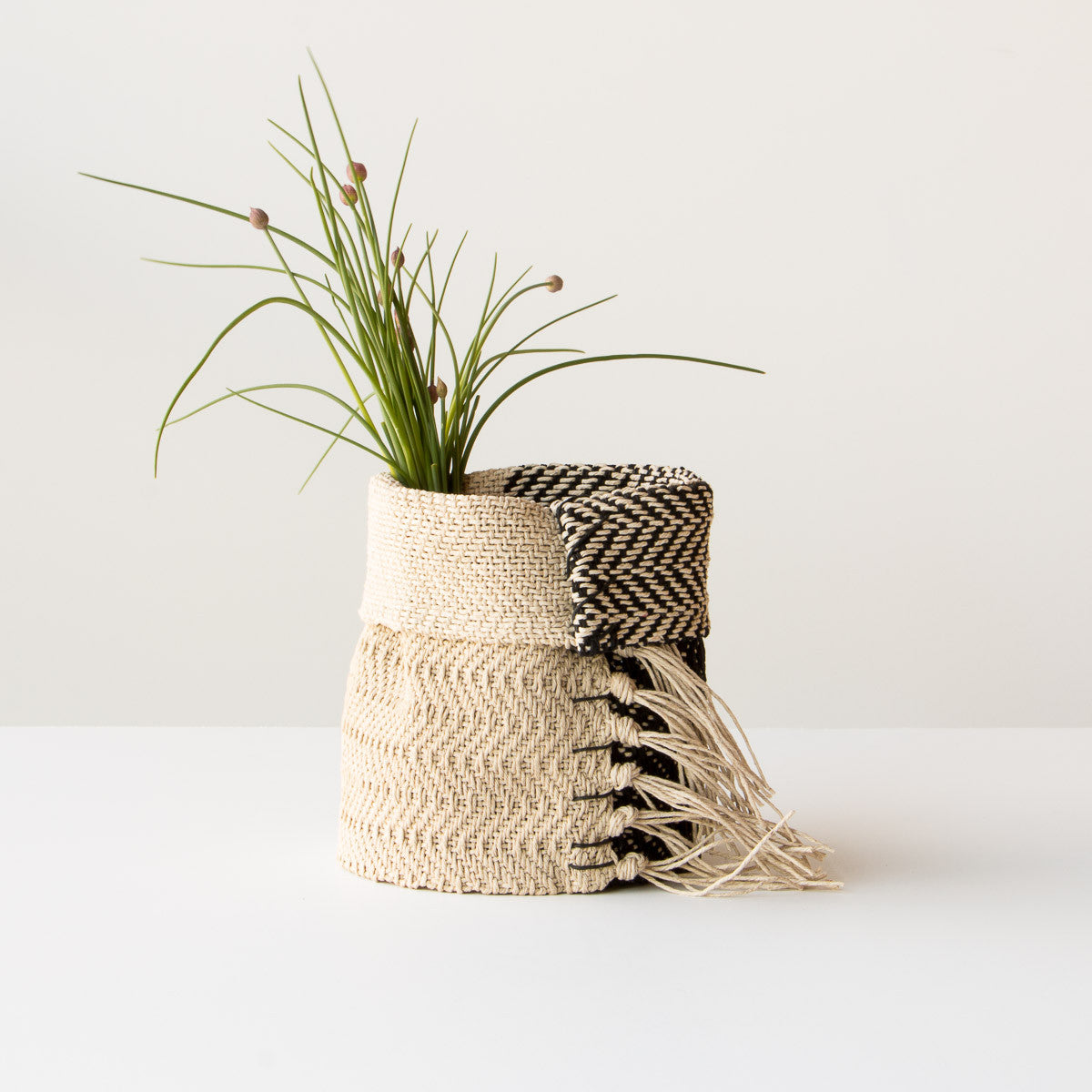 Red and Ecru Hemp Table Basket (Small) - Handmade in Canada