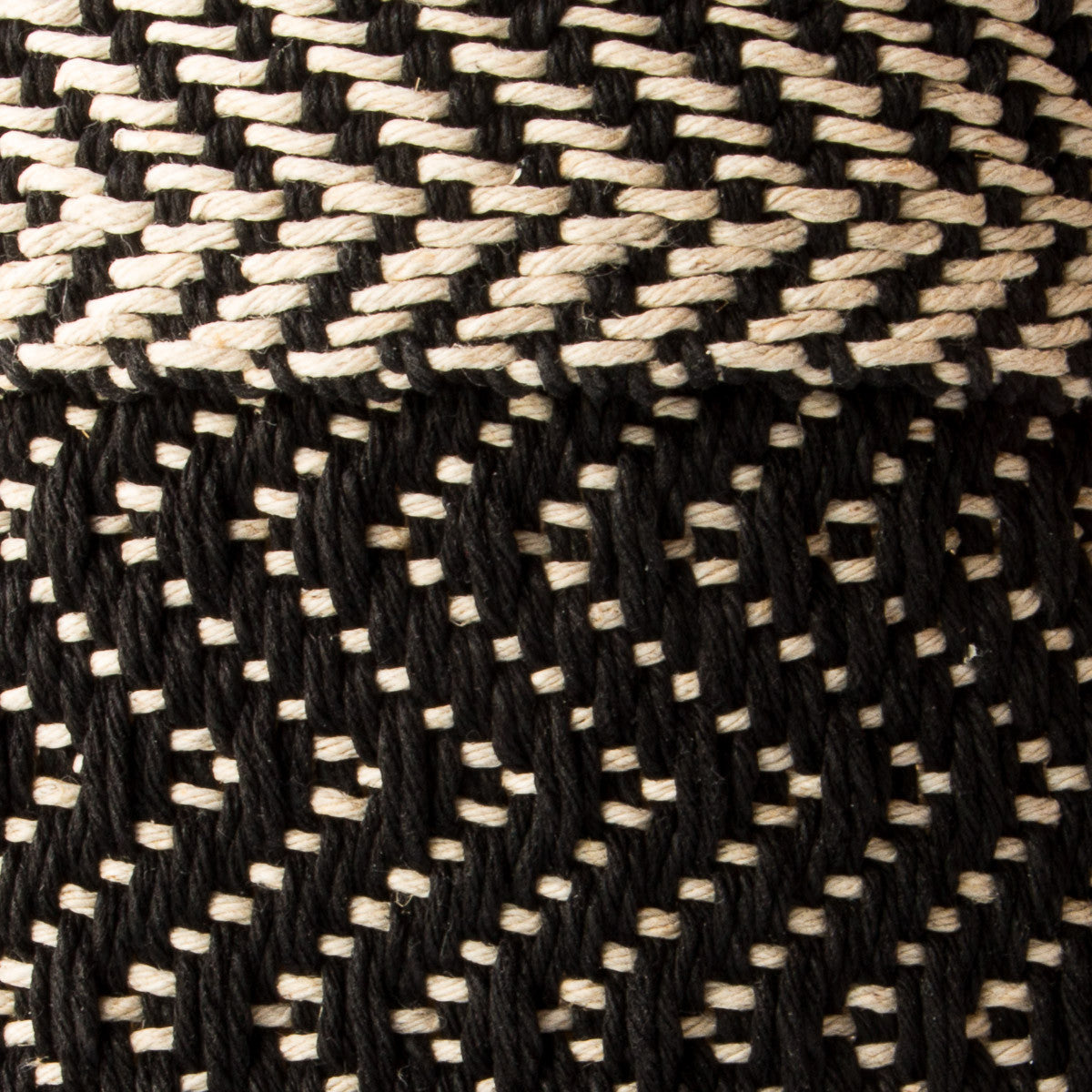 Handwoven Black and Ecru Hemp Pattern - Chic & Basta