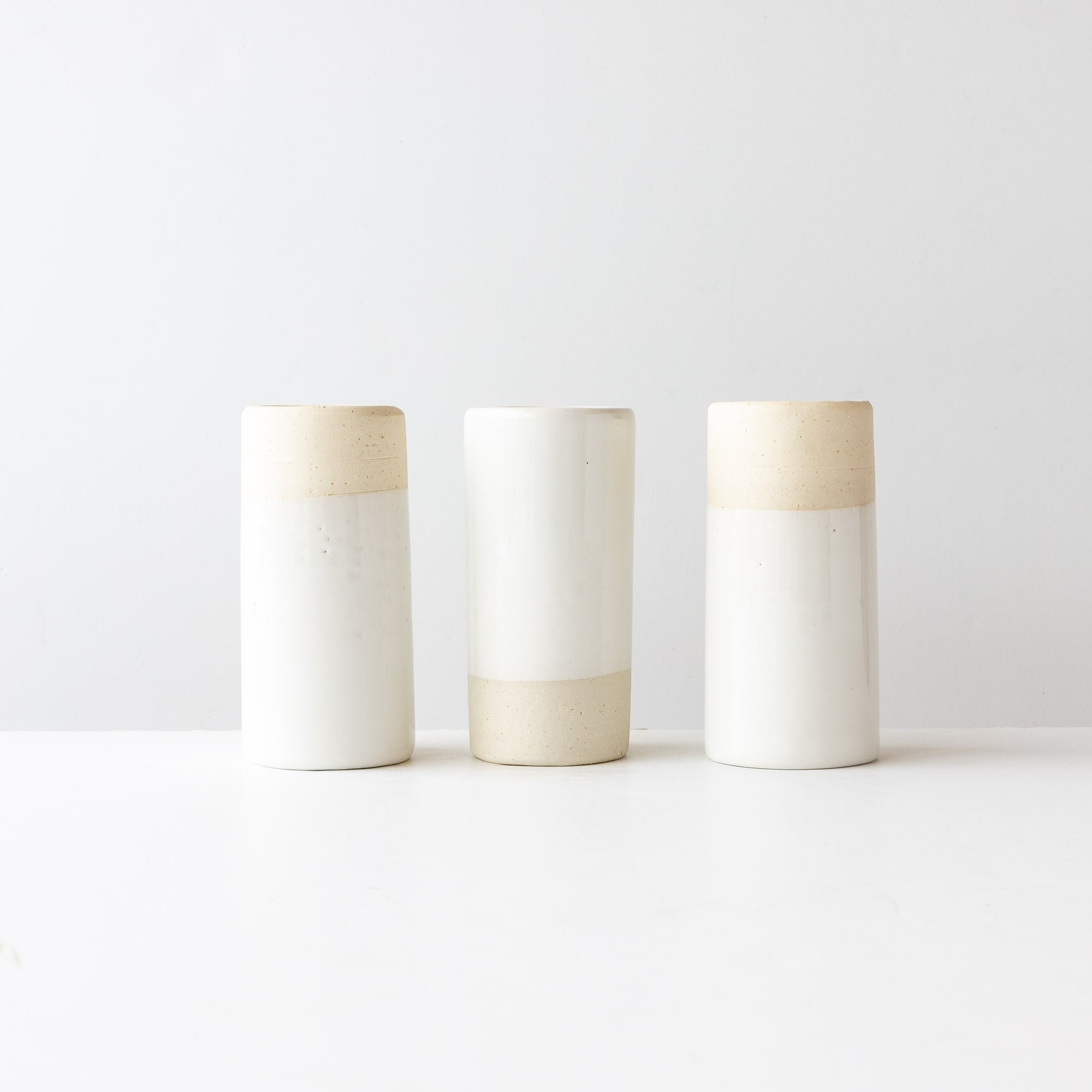 Three Handmade Contemporary Cylinder Ceramic Cups / Glasses - Sold by Chic & Basta