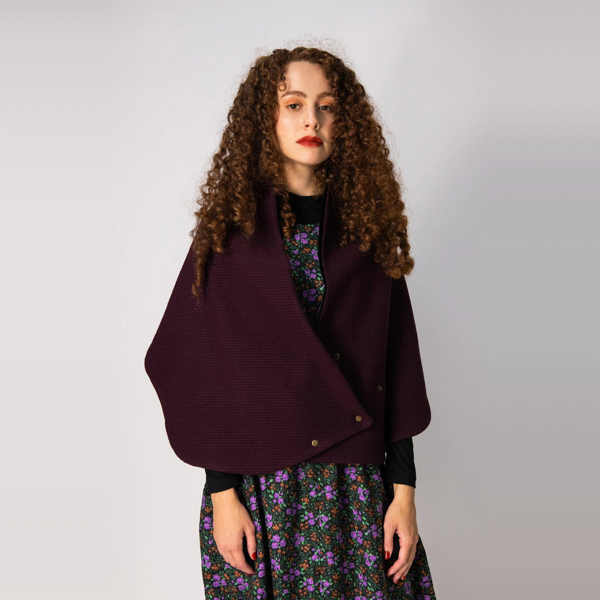 Model Wearing a Dandurand Knitted Cotton Scarf as a Shawl - Burgundy - Sold by Chic & Basta