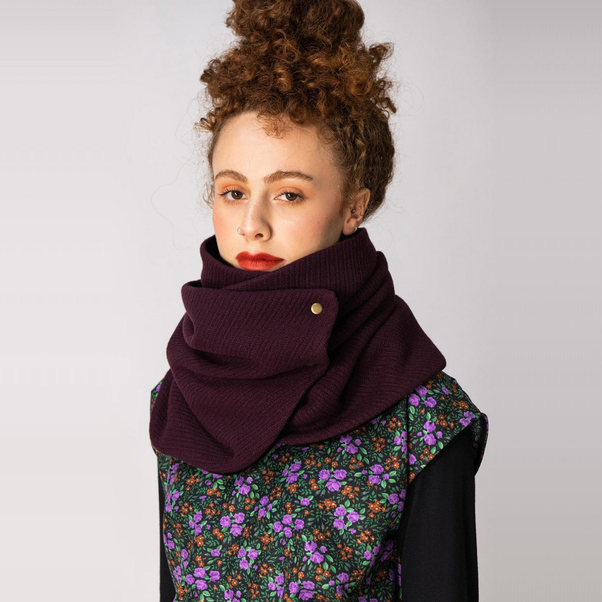 Model Wearing a Dandurand Knitted Cotton Scarf - Burgundy - Sold by Chic & Basta