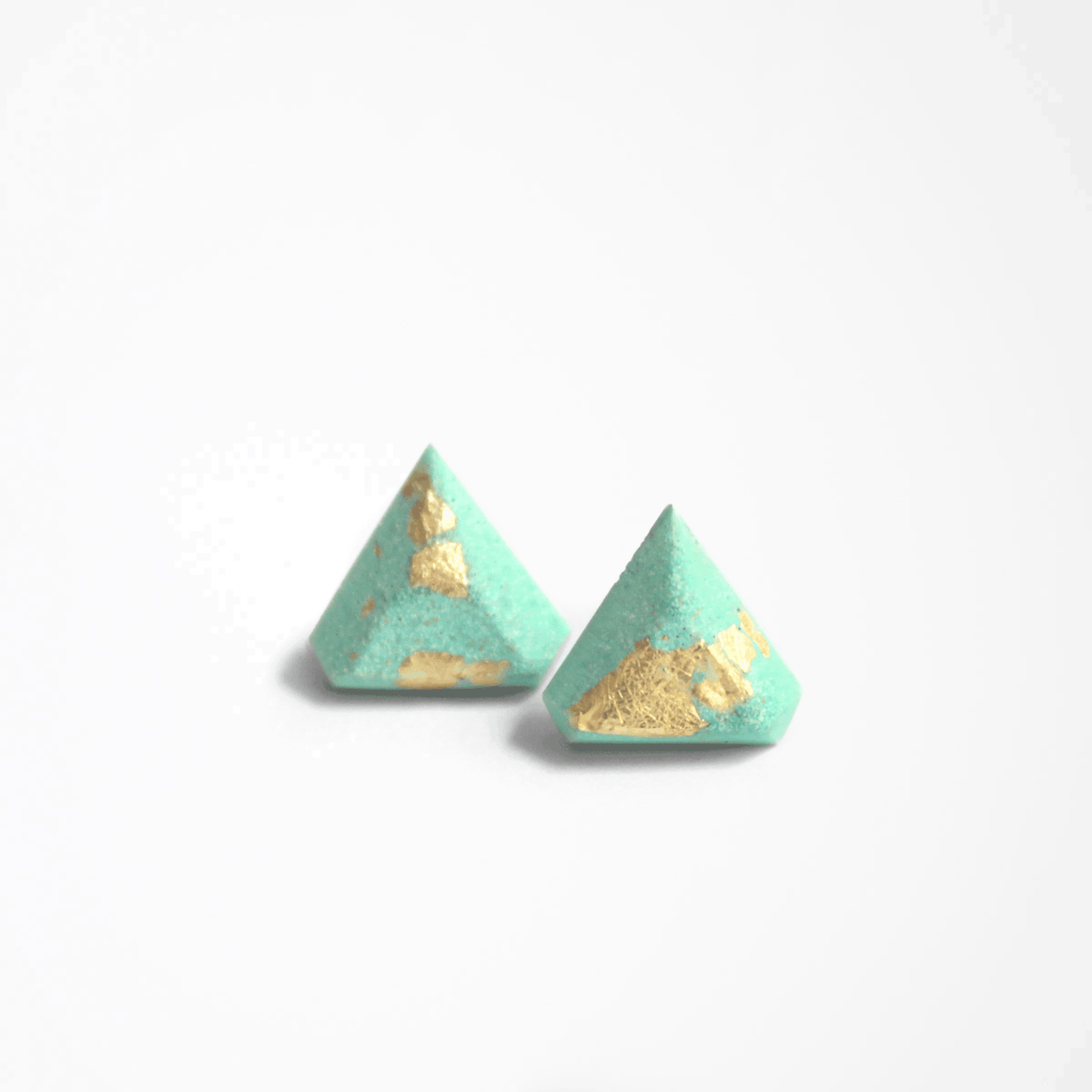 Mint Diamant Stud Earrings - Handmade in Eco-friendly Resin & Gold Leaf - Sold by Chic & Basta