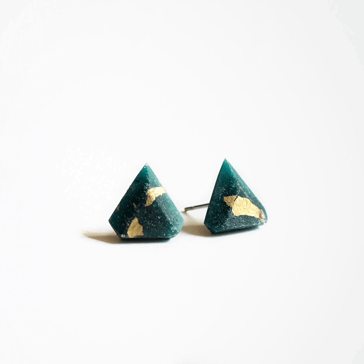 Forest Green Diamant Stud Earrings - Handmade in Eco-friendly Resin & Gold Leaf - Sold by Chic & Basta