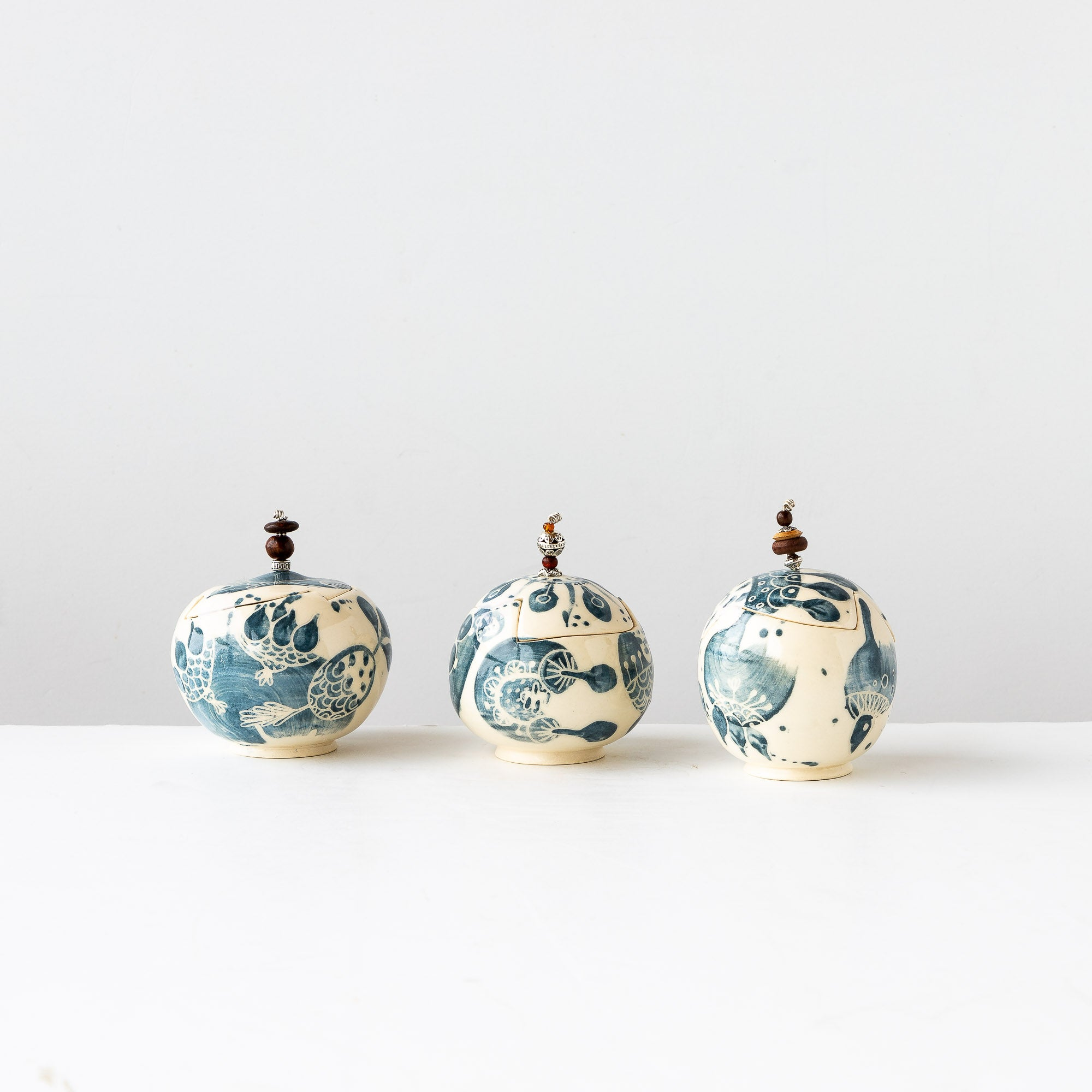 Three Round Blue Handmade Small Earthenware Gallipots - Sold by Chic & Basta