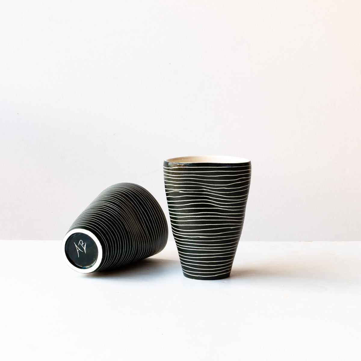 Two Large Black & Wwite Porcelain Tumblers - Sold by Chic & Basta