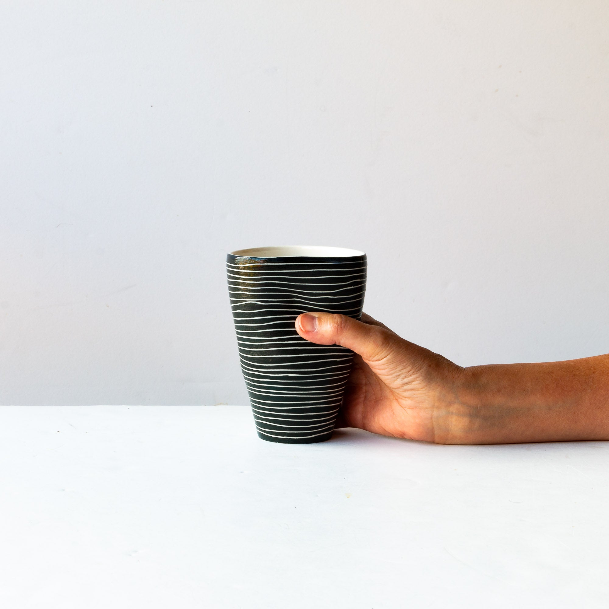 Two Handmade Large Black & Wwite Porcelain Tumblers - Sold by Chic & Basta