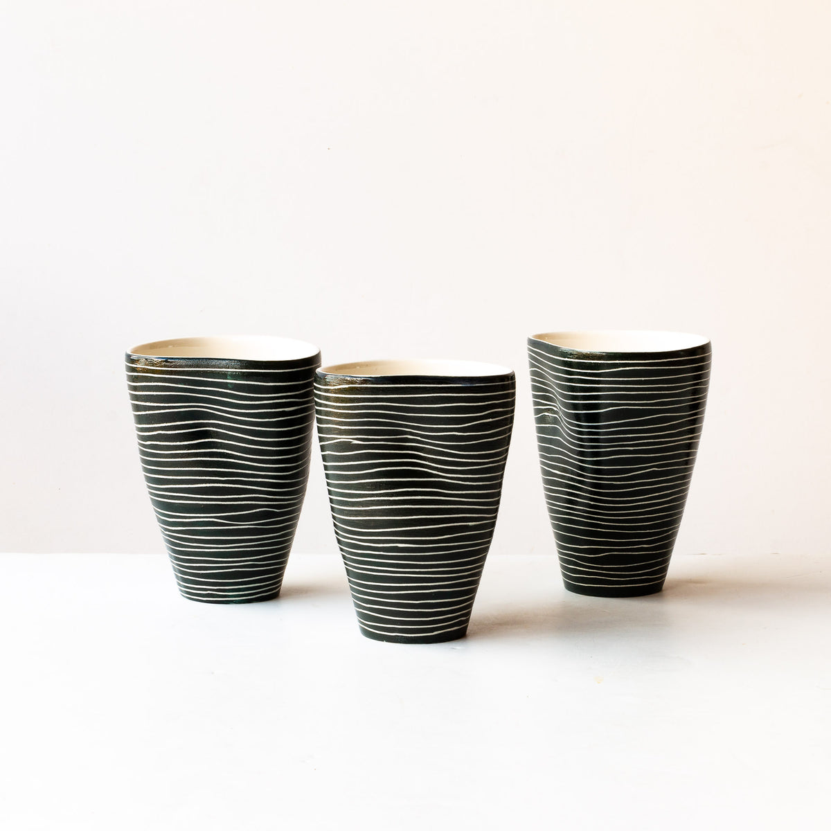 Three Striped Large Black & Wwite Porcelain Tumblers - Sold by Chic & Basta