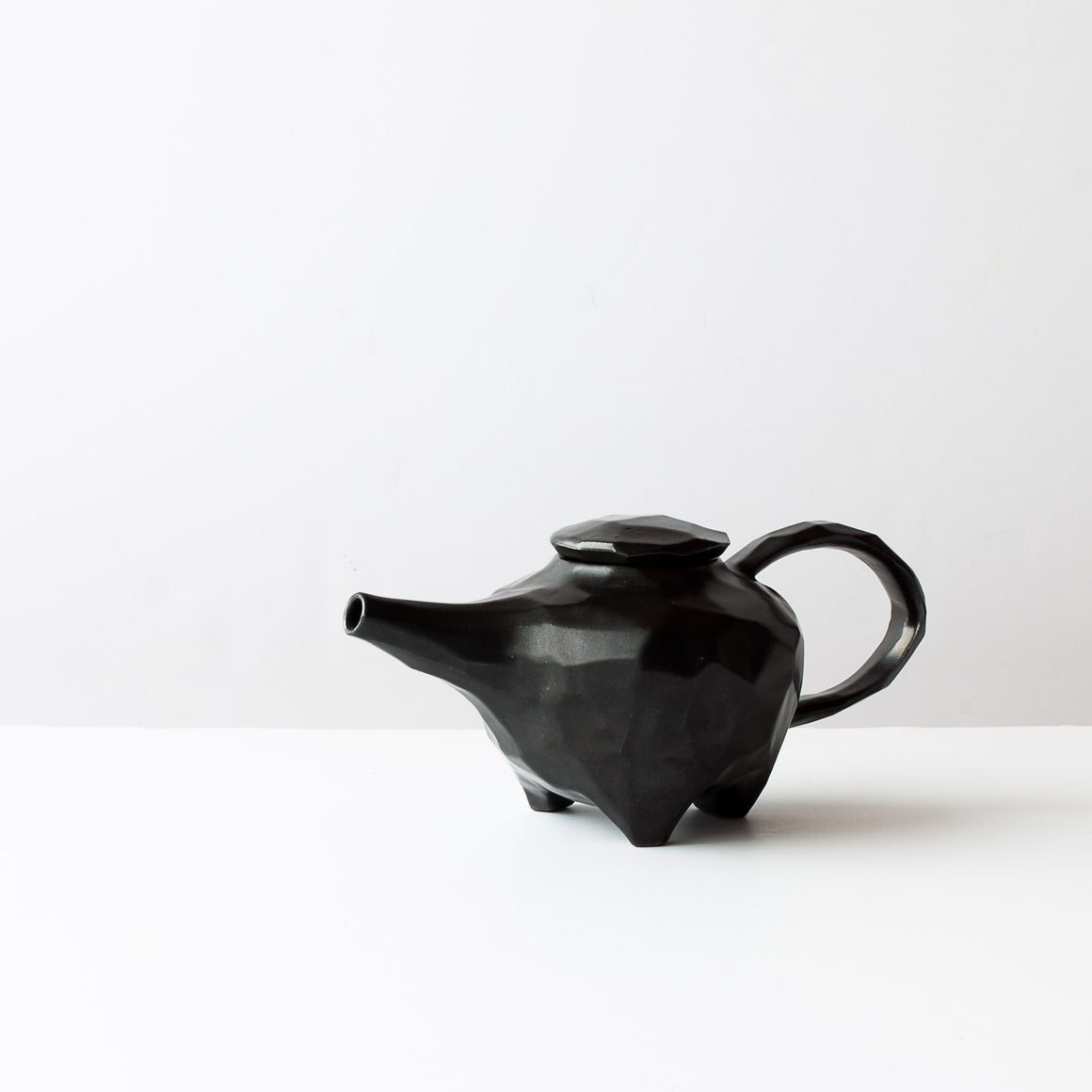Handmade Faceted Black Ceramic Teapots - Sold by Chic & Basta