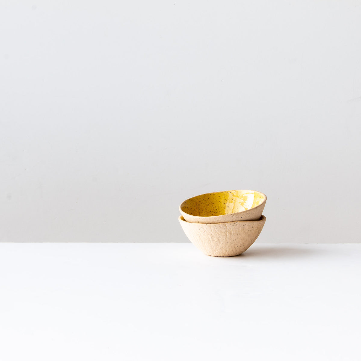 Two Handmade Freckled Ice Cream Bowls in Sandstone Ceramic - Sold by Chic & Basta