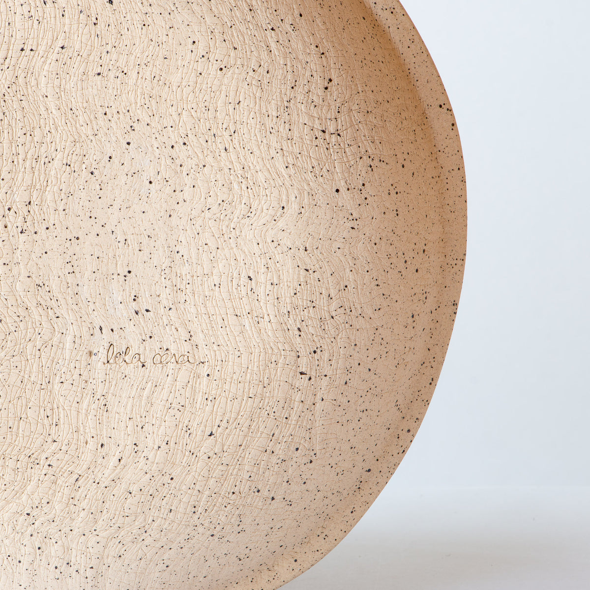Back View Detail - Small Freckled Pasta Bowl - Handmade in Glazed Stoneware - Sold by Chic & Basta