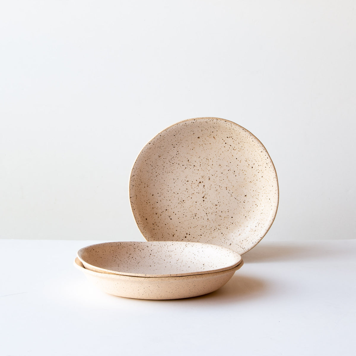 Three Small Freckled Pasta Bowls - Handmade in Off-White Glazed Stoneware - Sold by Chic & Basta