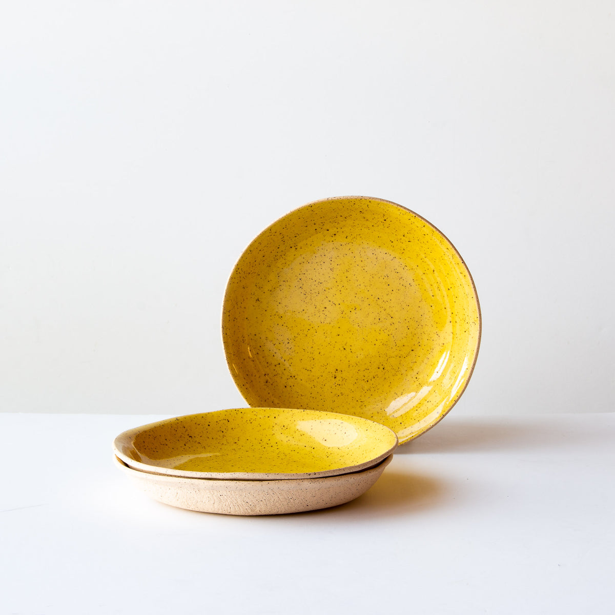 Three Small Freckled Pasta Bowls - Handmade in Yellow Glazed Stoneware - Sold by Chic & Basta