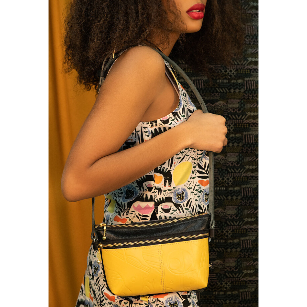 Model Wearing a Glendale Waist Pouch / Bag / Clutch - Yellow / Recycled Leather - Sold by Chic & Basta