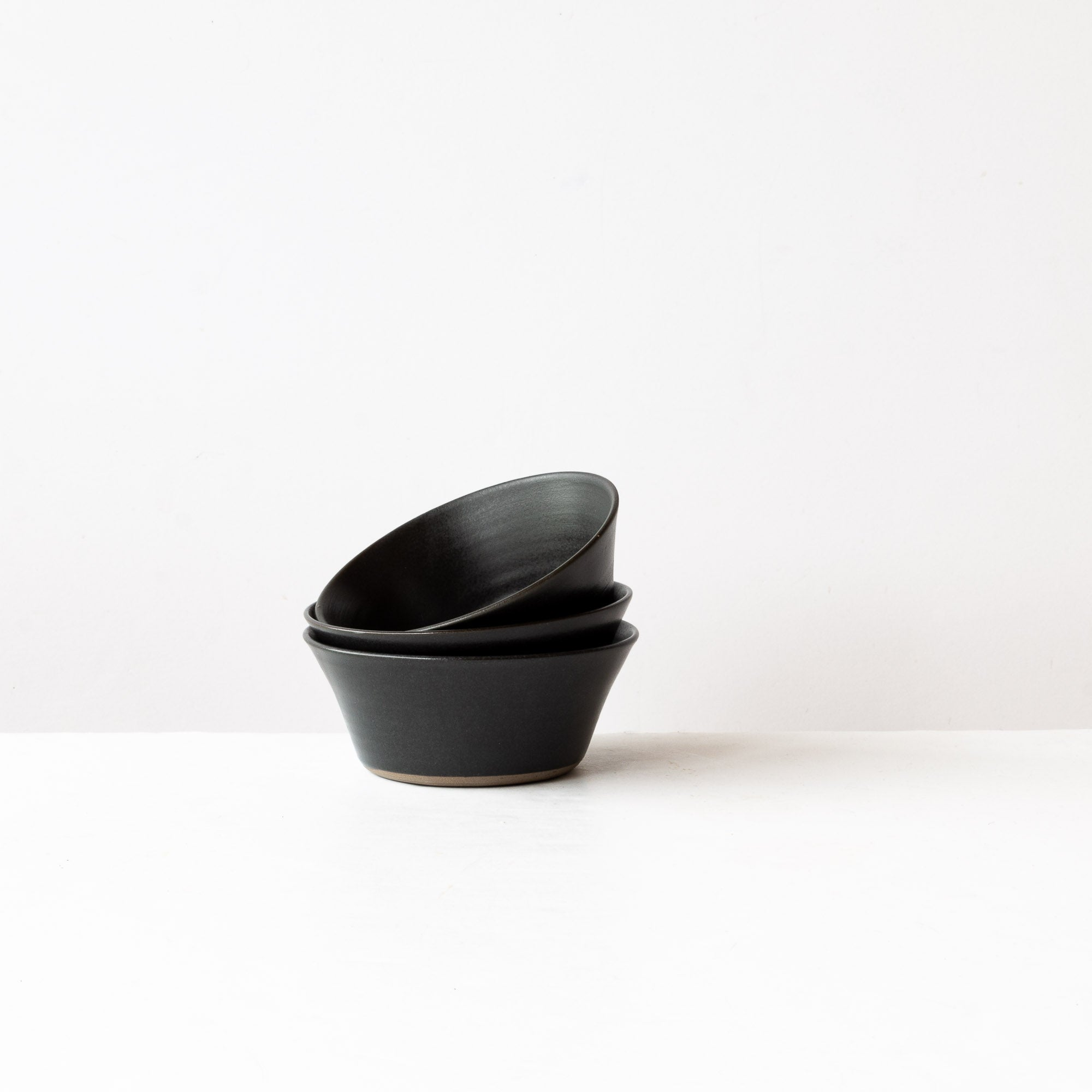 Matte Black - 3 Handmade Grey Stoneware Blooming Bowls - Sold by Chic & Basta