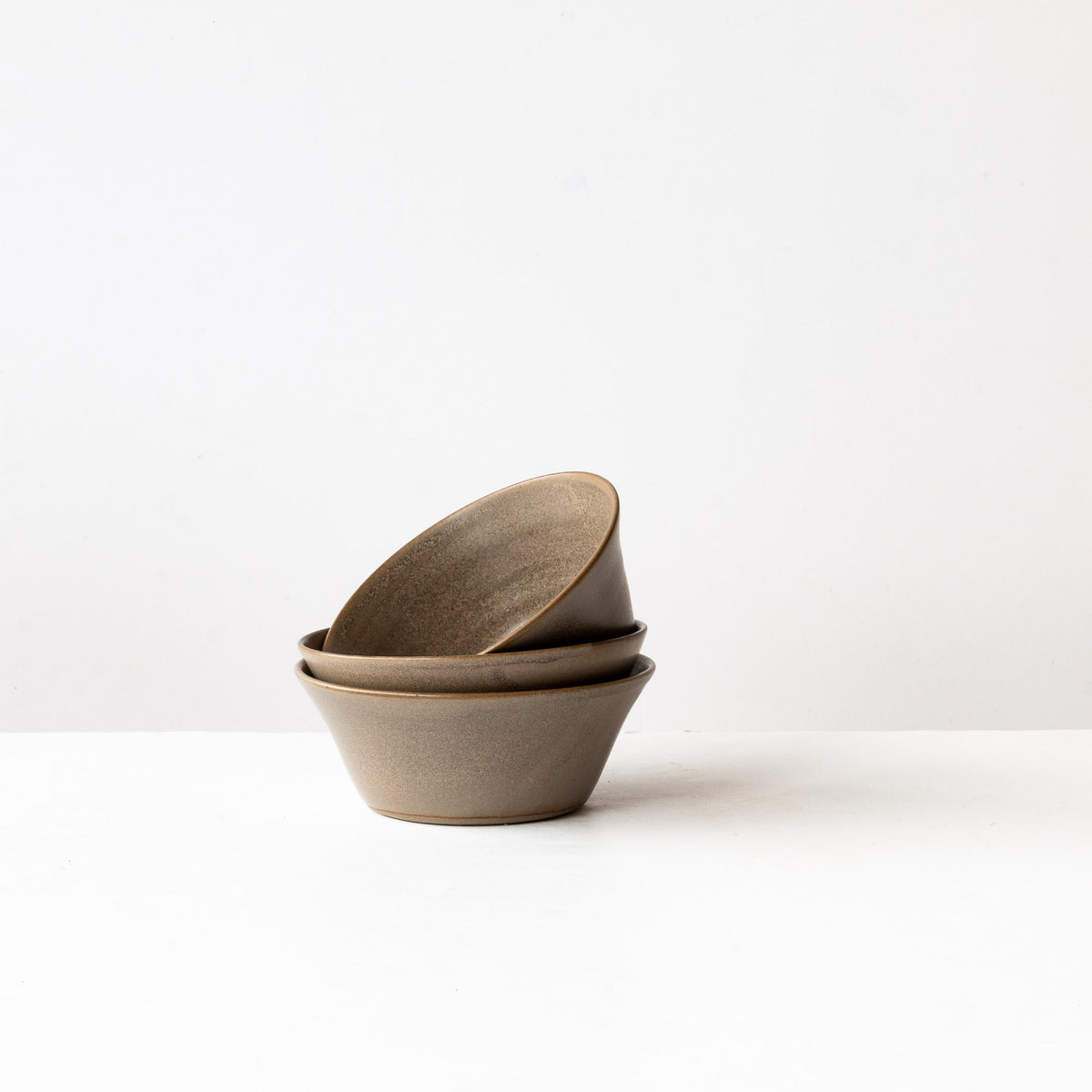 Taupe - 3 Handmade Grey Stoneware Blooming Bowls - Sold by Chic & Basta