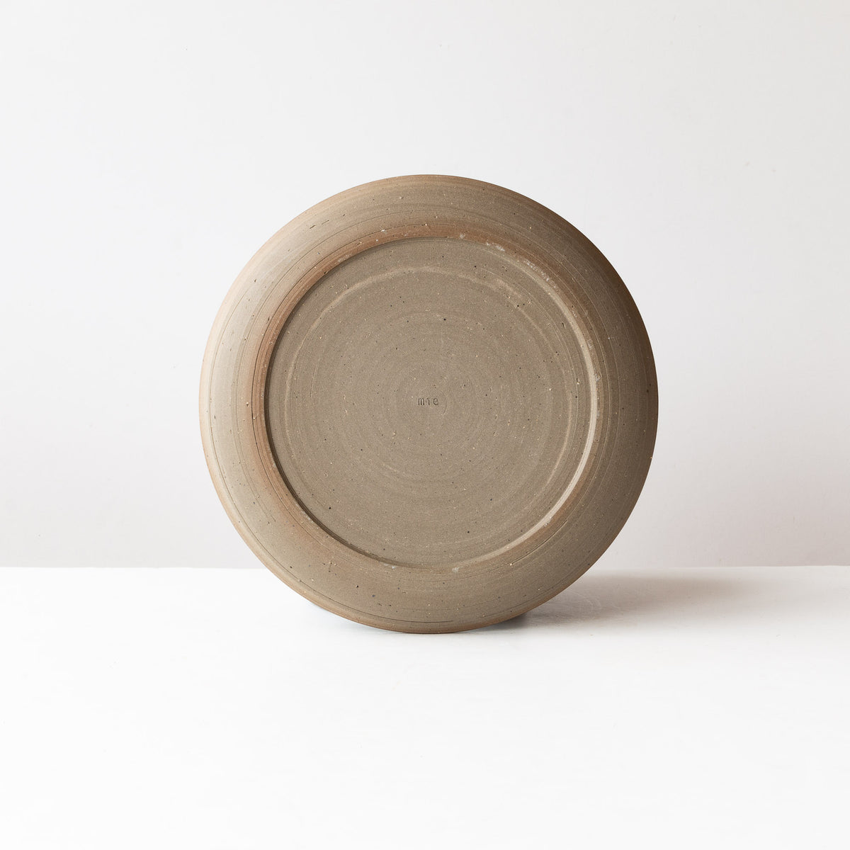 Back View - Handmade Grey Stoneware Dinner Plate - Sold by Chic & Basta