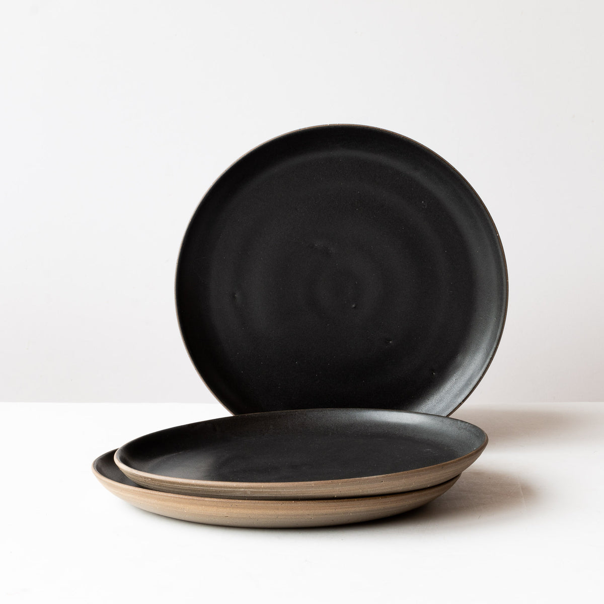 Matte Black - Handmade Grey Stoneware Dinner Plates - Sold by Chic & Basta