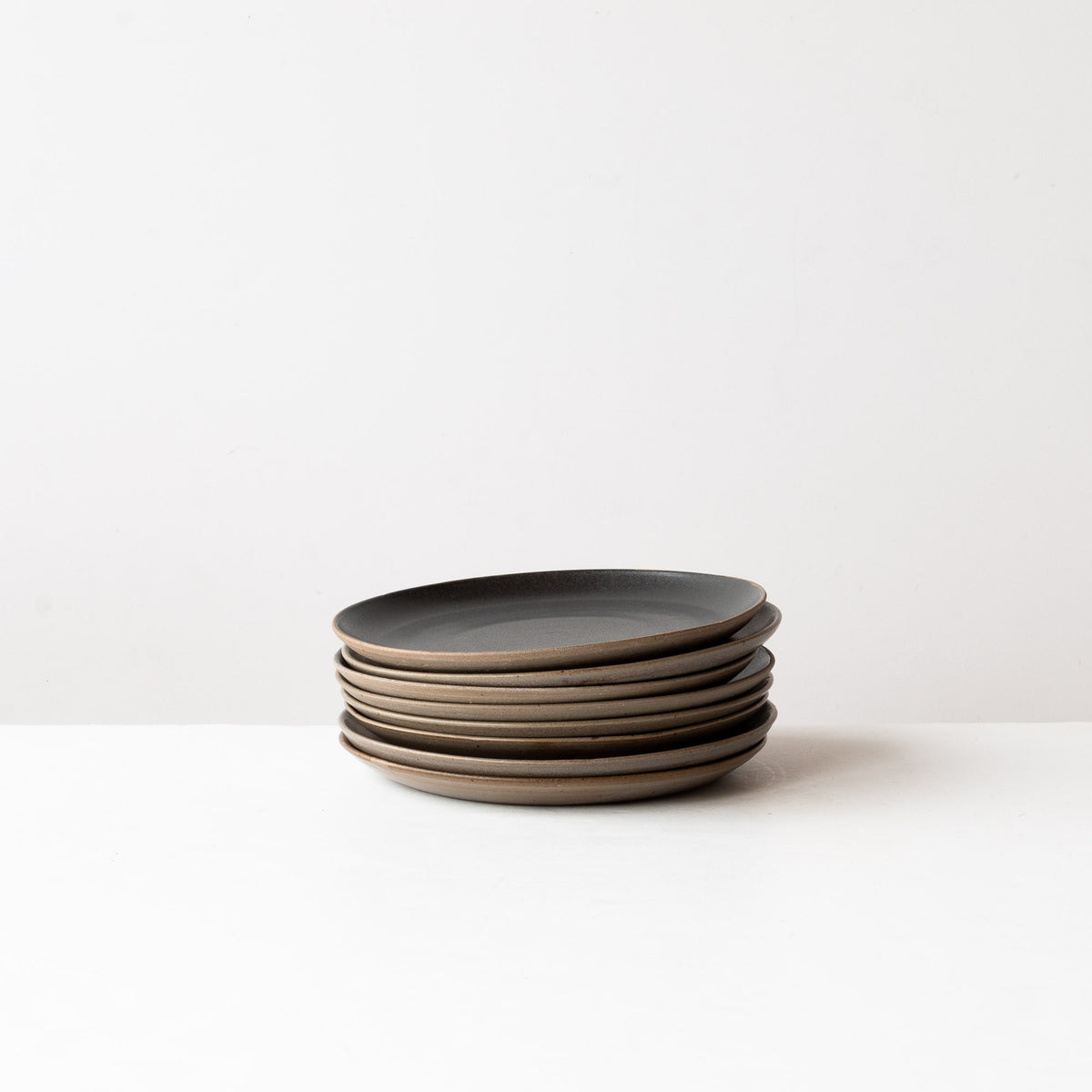 Matte Black & Taupe - Handmade Grey Stoneware Small Plates - Sold by Chic & Basta