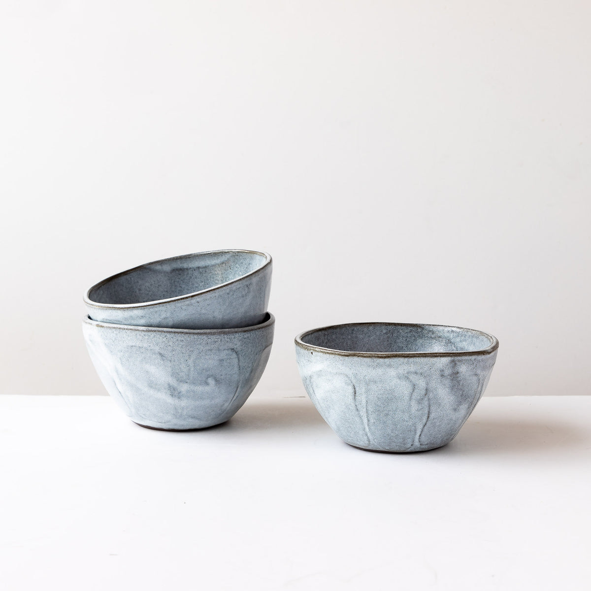 three Handmade Stoneware Breakfast Bowls - Grey & White - Sold by Chic & Basta