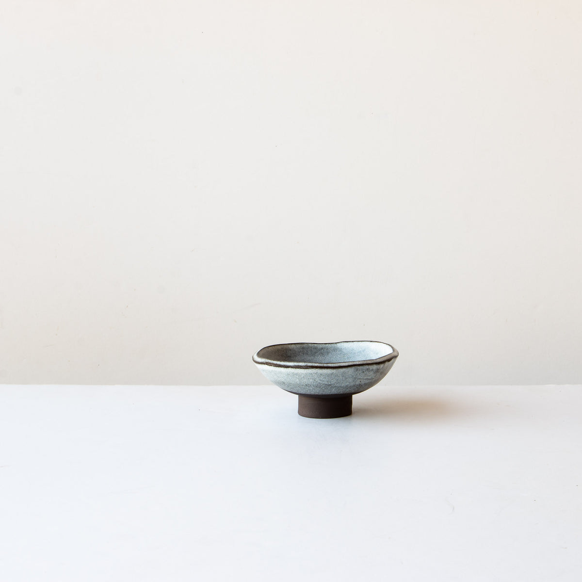 Handmade Stoneware Small Miso Bowl - Grey & White - Sold by Chic & Basta